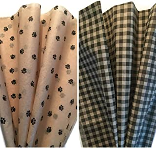 Printed Tissue Paper for Gift Wrapping Two Pattern Bundle: Dog Paw Print/Black & Tan Gingham Check Tissue Paper, 24 Large Sheets, 20x30