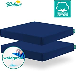 Square Pack N Play Fitted Sheets (for Square Play Yard), Perfect for Joovy New Room2 / Graco Pack N Play TotBloc Portable Playard, 2 Pack, Ultra Soft Cotton, Fitted Playpen sheet, Navy Blue,Waterproof