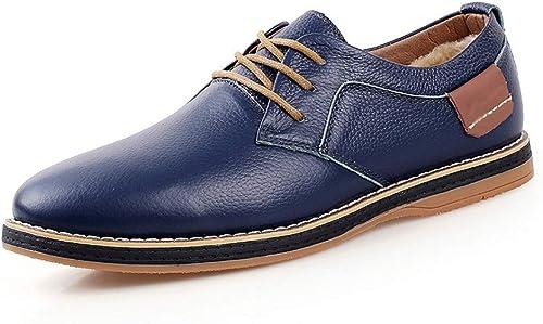 JESSIEKERVIN YY4 Chaussures de Sport en Cuir Toe Toe Layer en Cuir Angleterre Chaussures Chaussures d'affaires (Couleur   bleu (Single chaussures), Taille   41)  designer en ligne