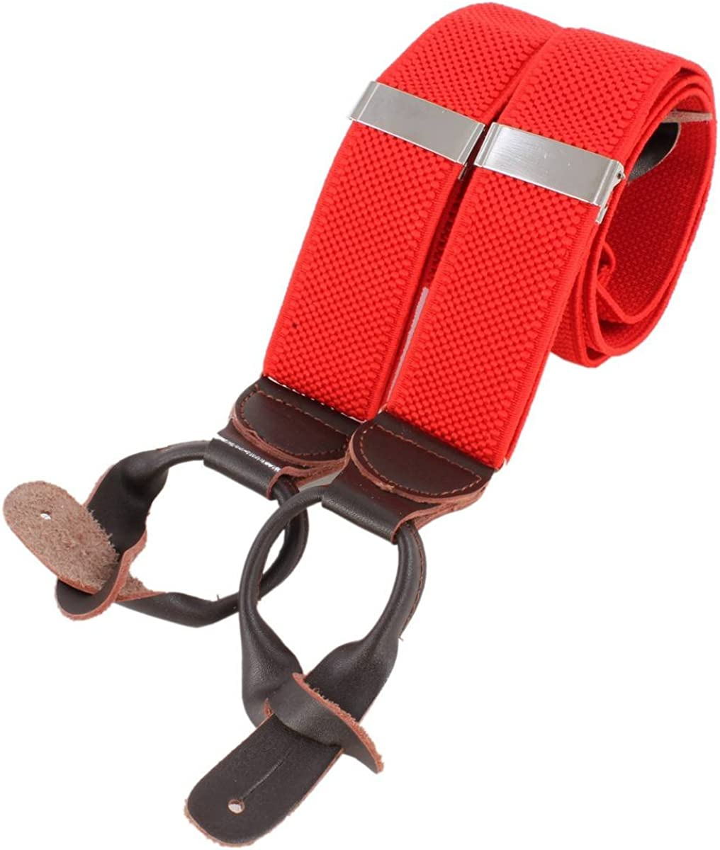 Knightsbridge Neckwear Mens Luxury Braces - Red