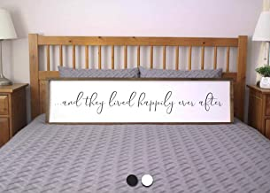 bawansign They Lived Happily Ever After Sign for Bedroom Farmhouse Framed Sign Farmhouse Bedroom Rustic Wall Sign for Above Bed
