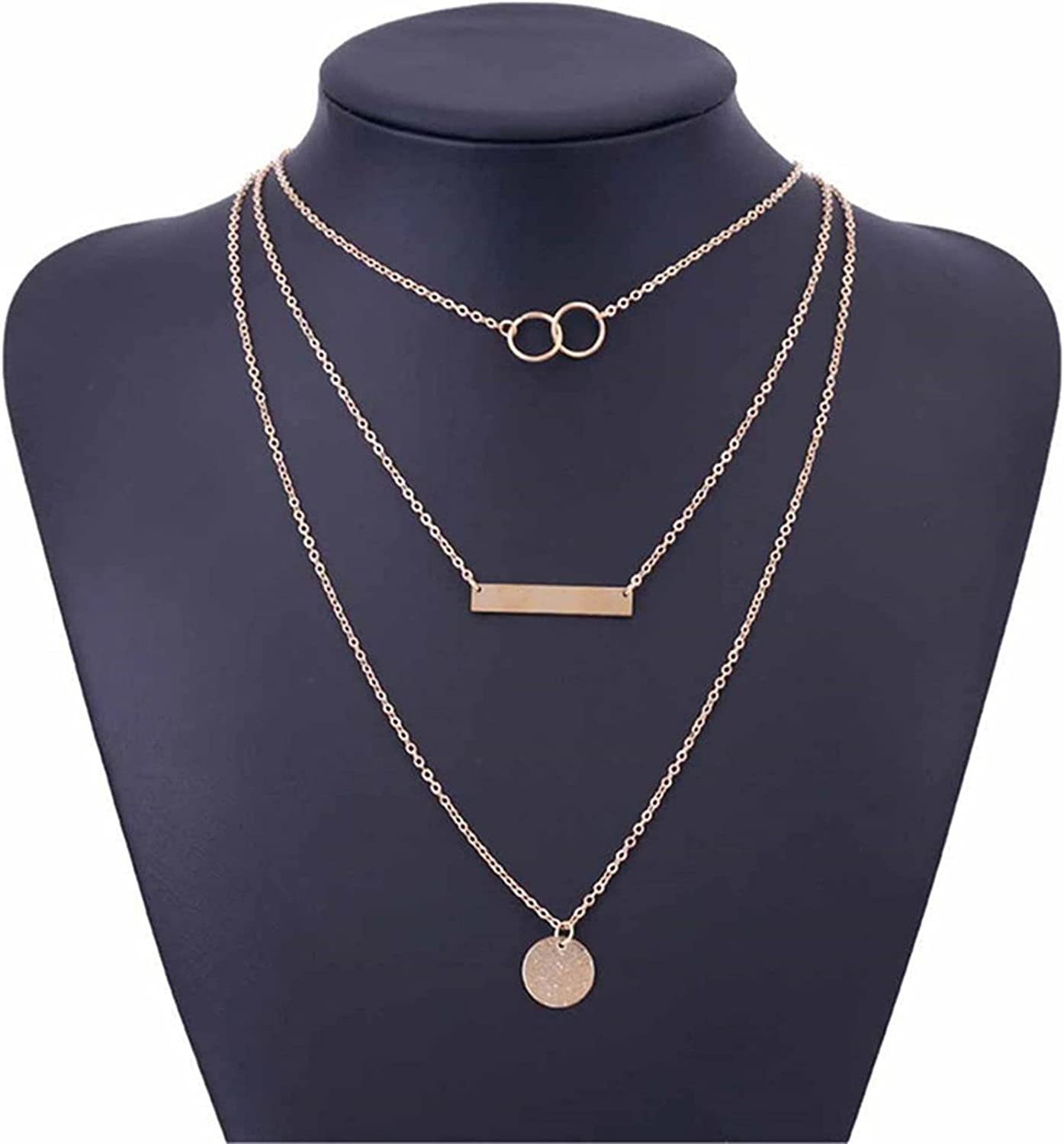 LoveAloe Boho Sequins Layered Necklace Circle Disc Pendant Necklaces Bar Chain Jewellery for Women Girls