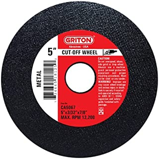 Pack of 10 12 Diameter 1//8 Width Griton CCH282 Arbor Industrial Cut Off Wheel for Cutting Masonry Used on High Speed Saws 20 mm Hole Diameter 12 Diameter 1//8 Width Griton Industries Pack of 10