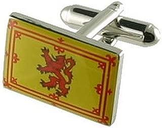 Cuff links Scotland Flag Cufflinks~Royal Scottish Flag Cufflinks + Hand Made Black Pouch