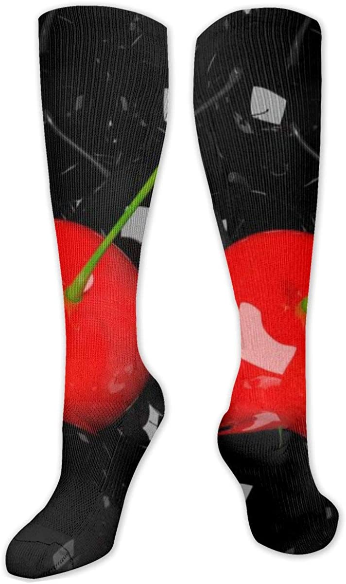 Cherry Berry Black Knee High Socks Leg Warmer Dresses Long Boot Stockings For Womens Cosplay Daily Wear
