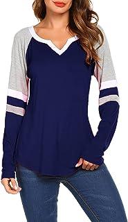 Sweetnight Women's Long Sleeve V Neck Raglan Shirts Loose Blouse Tops Casual Striped Tunic Tee Shirts