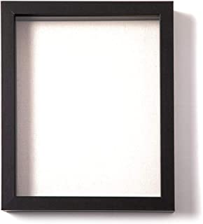 Muzilife 8x10 Shadow Box Picture Frame with Linen Board - Deep Wood & Glass Display Case Ready to Hang Perfect to Display Baby & Sports Memorabilia, Pins, Awards, Medals, Tickets and Photos (Black)