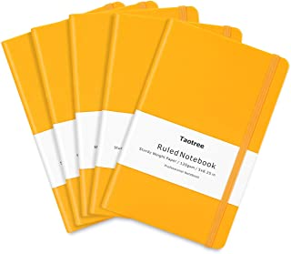 5 Pack Journal Notebooks, Taotree Yellow Classic Ruled Writing Notebook, Hard Cover PU Leather, 120gsm Premium Thick Paper, Inner Pocket, 128 Pages, 5
