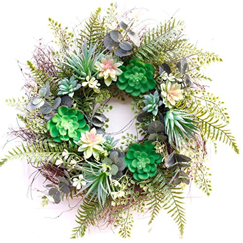 Artificial Succulents Wreath,Christmas Garland with Lights,Christmas Garland Decoration for Xmas Tree Fireplaces Stairs Doors Garden Yard Decor 22 Inches,Green