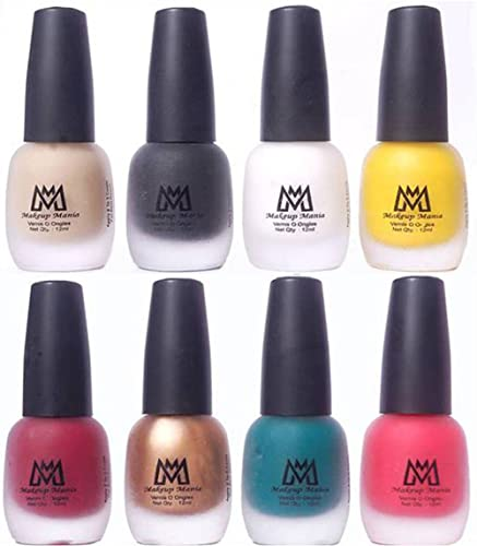 Makeup Mania Premium Velvet Matte Nail Paint Combo (Nude, Black, White, Yellow, Deep Red, Golden, Green, Peach (MM# 17-22)) product image