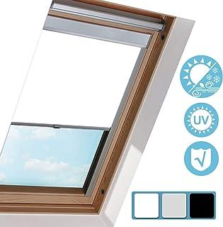 Hengda Cortina de Oscurecimiento Ventanas de Tejado / F04 Blanco 49.3x74cm/ Estor para Ventanas de Techo Tipo Velux/Resistente a UV