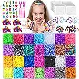NEOWEEK 11900+ Rainbow Rubber Bands Bracelet Making Kit, 11000 Loom Bands, 600 S-Clips, 252 Beads, 25 Charms, 10 Backpack Hooks, 5 Crochet Hooks, 2 Y Looms