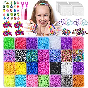 NEOWEEK 11900+ Rainbow Rubber Bands Bracelet Making Kit, 11000 Loom Bands, 600 S-Clips, 252 Beads, 25 Charms, 10…