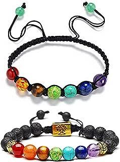 Chakra Bead Bracelets for Women - 7 Chakras 8mm Lava Rock Stone Bracelets - Men Stress Relief Yoga Beads Aromatherapy Essential Oil Diffuser Bracelets Anxiety Bracelet
