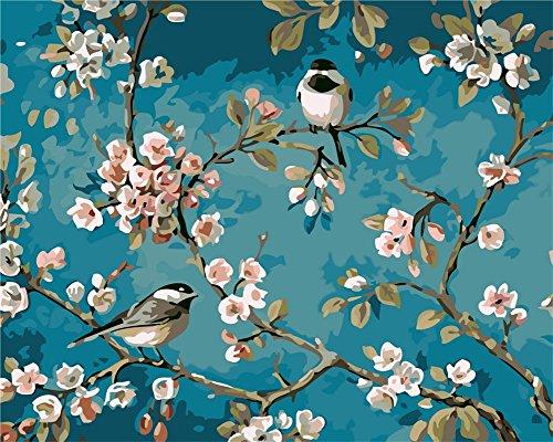 YEESAM ART Neuerscheinungen Malen nach Zahlen für Erwachsene Kinder - Blumen und Vögel Pfirsichblüte Elster 16x20 Zoll Leinen Segeltuch - DIY ölgemälde ölfarben Weihnachten Geschenke