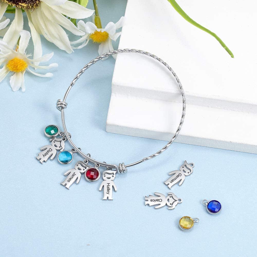 kaululu Gifts for Mom Personalized Charm Bracelets for Women with 1 to 5 Dolls Custom Name Bracelet with Birthstone for Mother Wife Grandma