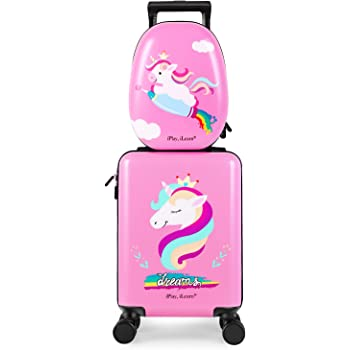 Unicorn Kids Carry on Luggage Set with Spinner Wheels, Girls Travel Suitcase - Pink