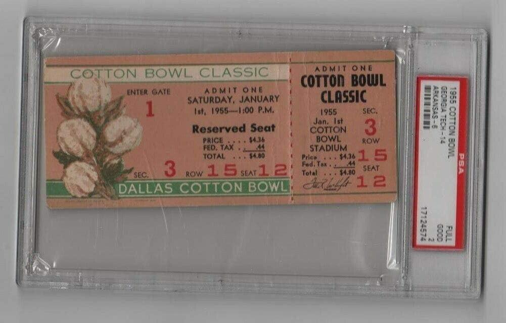 1955 Cotton Bowl gift Full Ticket Georgia Razorbacks v Tech Overseas parallel import regular item Arkansas