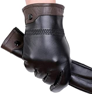 Genuine Leather Gloves Male Gloves Winter Fashion Thick Thermal (Color : Brown)