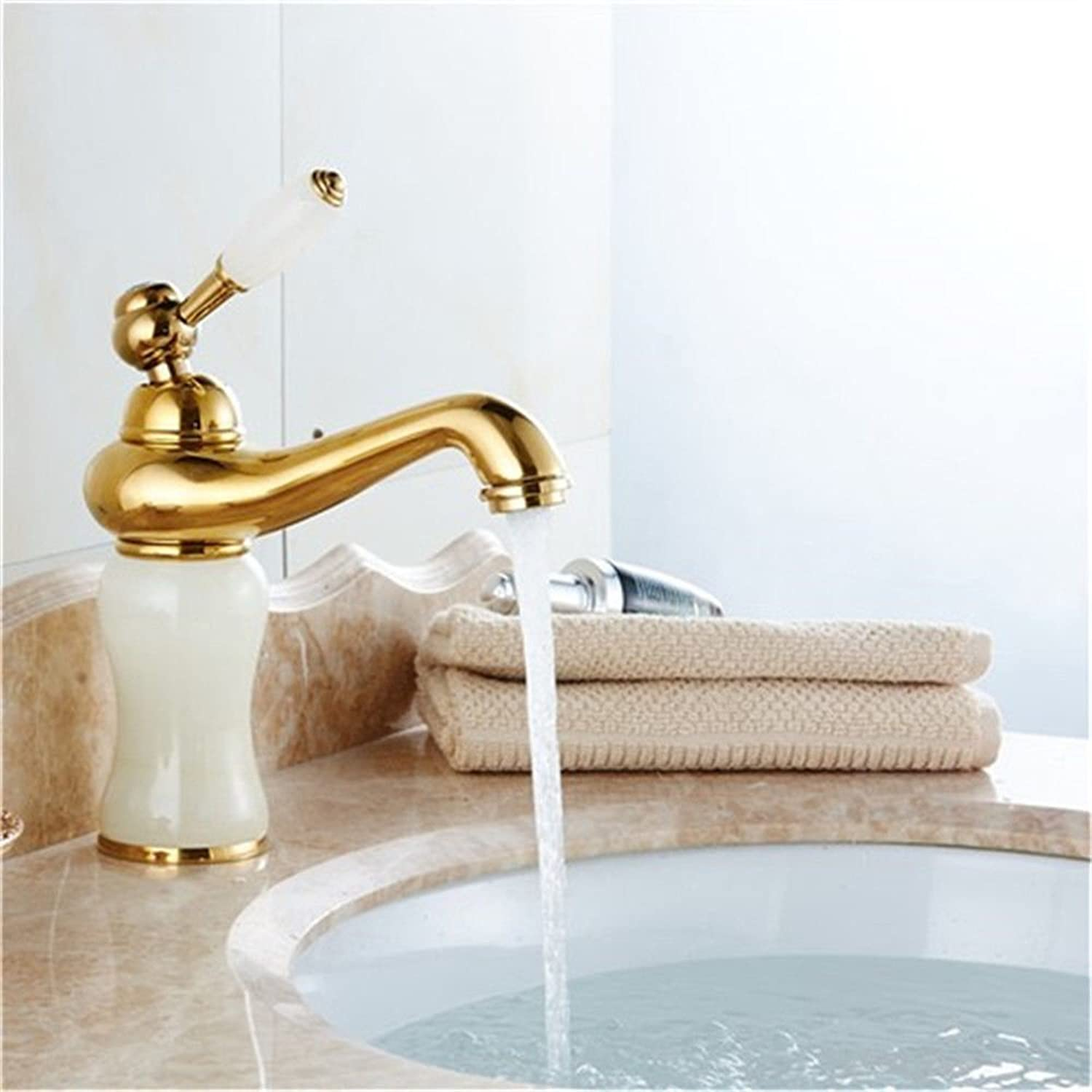 Oudan Bathroom Sink Basin Tap Brass Mixer Tap Washroom Mixer Faucet Antique Basin Mixer Taps Jade gold pink gold mixer console basin single-basin water faucet K