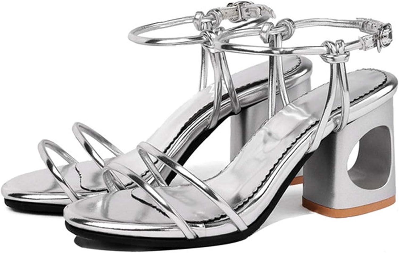 Sandals Women Buckle Thick High Heels Ladies shoes Elegant Prom Wedding shoes Women Sandals