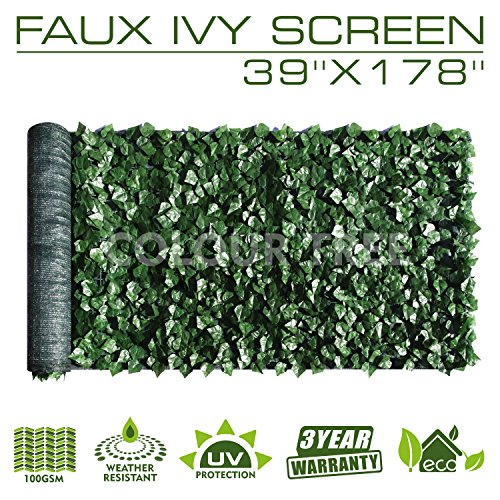 """ColourTree 39"""" x 178"""" Artificial Hedges Faux Ivy Leaves Fence Privacy Screen Panels Decorative Trellis"""