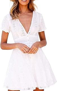 SUNJIN ARCO Women's Ruffle V Neck Short Sleeve Cotton A Line Wrap Mini Dress with Belt