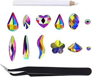 100pcs Mixed Clear AB Flat Back 10 Shapes Crystal Rhinestones with Pick UP Tweezers and Rhinestones Picking Pen for Crafts 3D Nail Art Face Phone In A Box