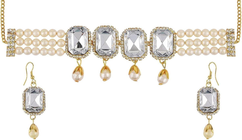 Efulgenz Fashion Chunky Crystal Rhinestone Faux Pearl Statement Collar Choker Necklace Earrings Jewelry Set