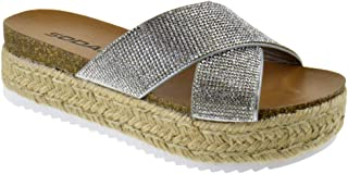 69160514520d Womens Casual Espadrilles Trim Rubber Sole Flatform Studded Wedge Buckle  Ankle Strap Open Toe Sandals