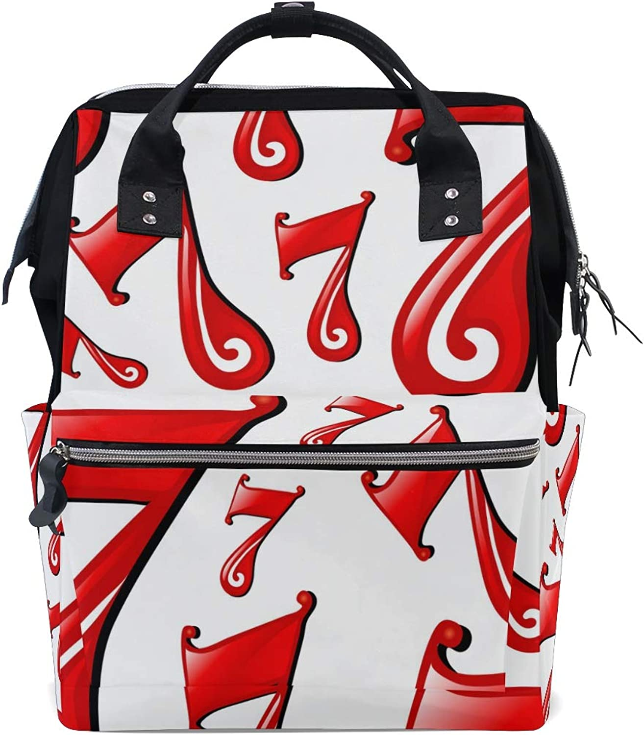 FAJRO Red Number SevenTravel Backpack Canvas Handbag School Pack