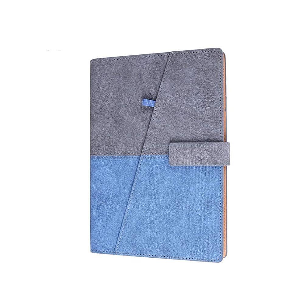 メモ帳、ビジネスノート、クリエイティブステッチルーズリーフレザーステーショナリー、A5ワークノート、ブルーグレー/ライトブルー/イエロー、高品質 (Color : Blue gray)