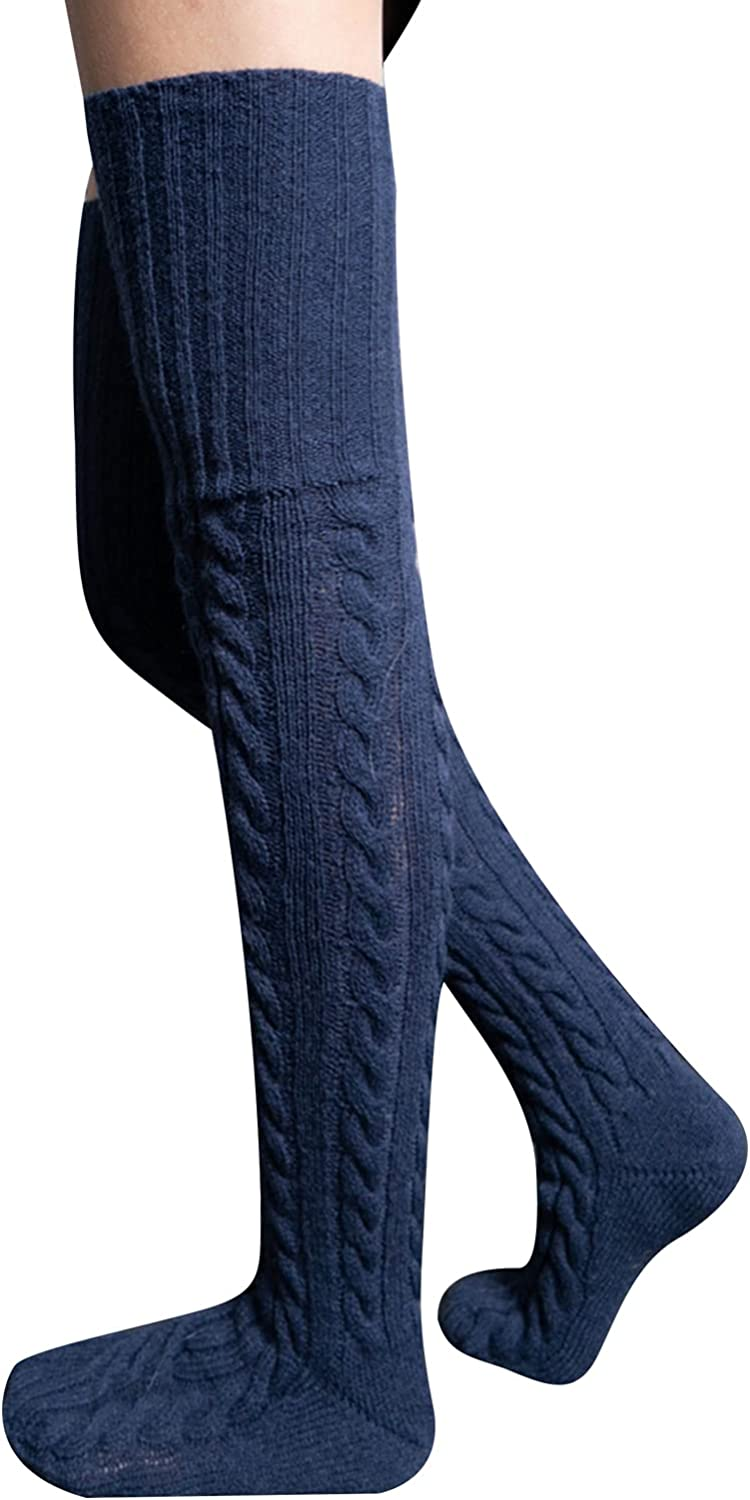 Fashion Thigh High Socks for Women Cable Knit Over The knee Boot Socks Long Tube Winter Warmers Stockings