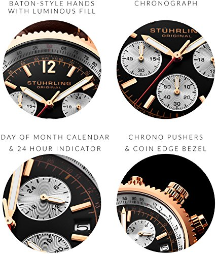 Stuhrling Original Monaco Men's Quartz Watch with Black Dial Analogue Display and Brown Leather...