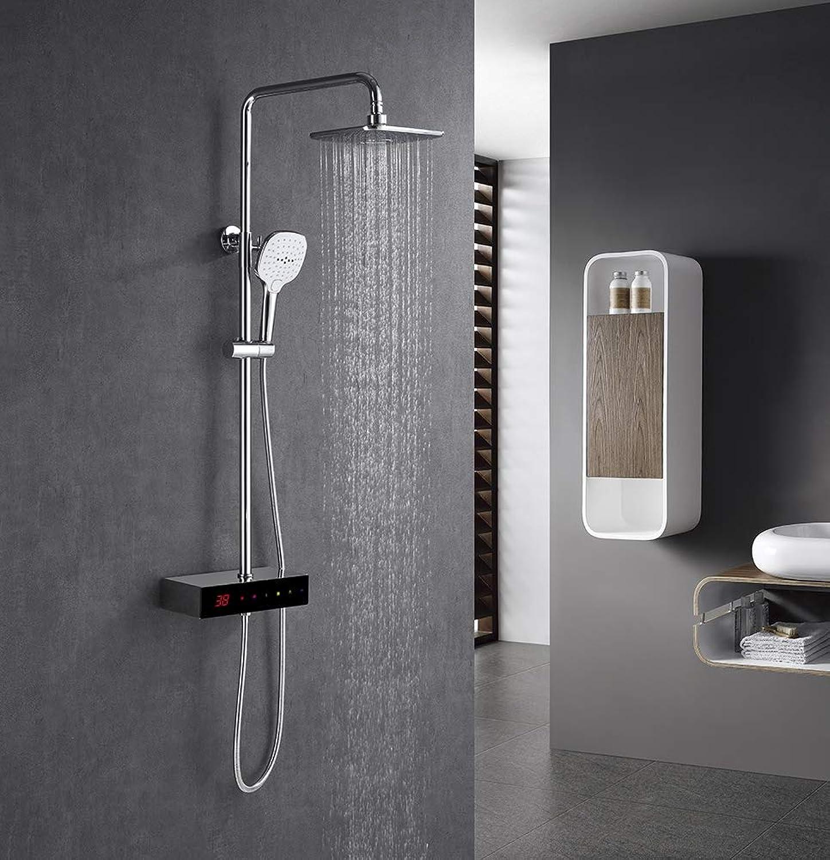 JXWWN 3-Wege Duschsystem LCD Temperatur-Anzeige Duscharmatur mit Rainshower Regendusche Handbrause Duschkopf Dusche Armatur und Badewanne Duschset f. Bad.