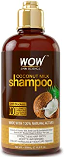 WOW Coconut Milk Shampoo - DHT Blockers Slow Down Hair Loss, Grey Hair, Stimulate Growth For Thick, Glossy Hair - Paraben, Sulfate, Salt, Silicone Free - All Hair Types, Adults & Children - 500 mL