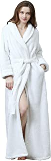Womens Robe Long Fleece Bathrobe Warm Waist Belt Super Soft Spa Plush Full Length Bath Robe with Shawl Collar