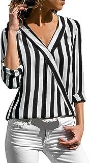 Womens Tops,LIUguoo Women Ladies Striped Long Sleeve Irregular Work Office Blouse Top Tee Shirt