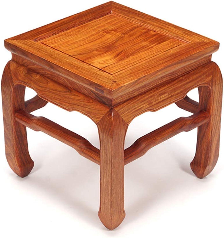 ZHAOYONGLI-stools Footstool Work Stool Shower Stool Step Stool pinkwood Square Stool Short Small Hedgehog pinkwood Tenon Light Classical Multifunction Household Creative