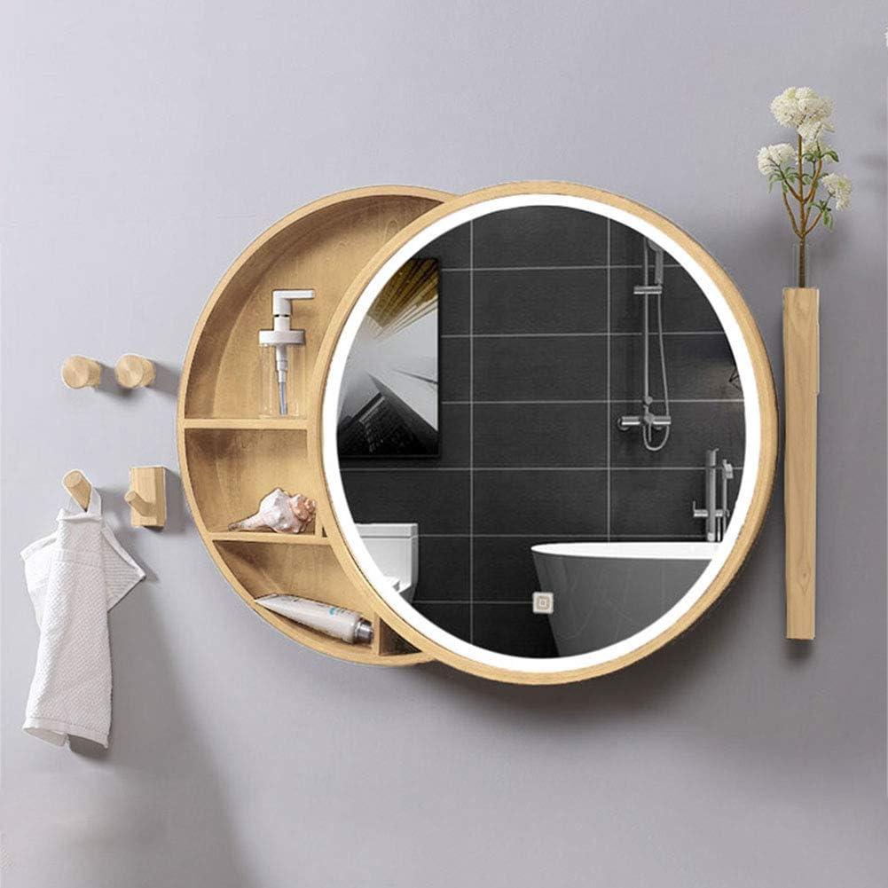 LED Long-awaited Illuminated Bathroom Mirror Cabinet Wood Storage Led Solid Max 85% OFF