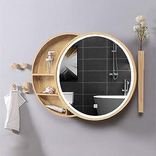 L&ED Armoire De Toilette LED éClairéE/Miroir De Salle De Bains Anti-BuéE en Bois Massif à LED Miroir De Courtoisie Rond Mu...