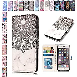 Customer reviews iPhone 7 Plus 8 Plus Case Marble Mandala Flower, E-Mandala Pretty Cute Pattern Personalised Design PU Leather Flip Case Wallet Cover with card holder kickstand Magnetic Closure Shell Soft TPU Silicone Bumper Inner Back Cover for Apple iPhone 7 Plus 8 Plus