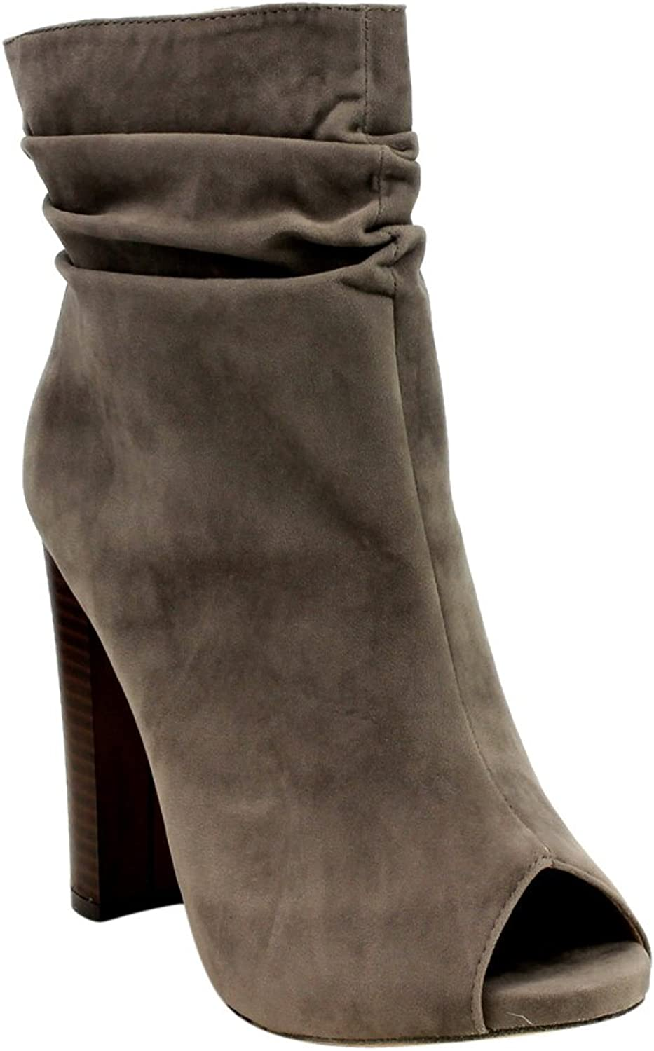 Chase & Chloe Ivy-1 Women's Ruched Zip High Stacked Heel Ankle Booties