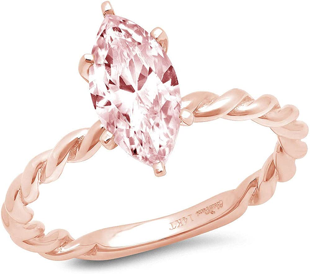 1.95ct Marquise Cut Solitaire Rope Twisted Knot Fancy Pink Simulated Diamond CZ Ideal VVS1 D 6-Prong Classic Designer Statement Ring Solid 14k Pink Rose Gold for Women