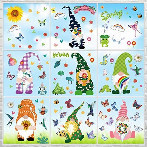 9 Pieces Gnome Window Clings Flower Butterfly Window Clings Window Decals Spring Window Decorations product image
