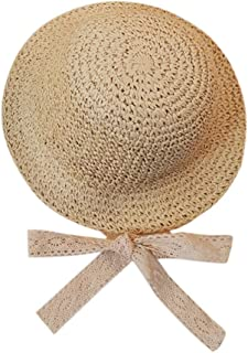 CofeeMO Baby Children Summer Fedora Straw Hats Sun Protection Lace Strappy Beach Park Bucket Hats