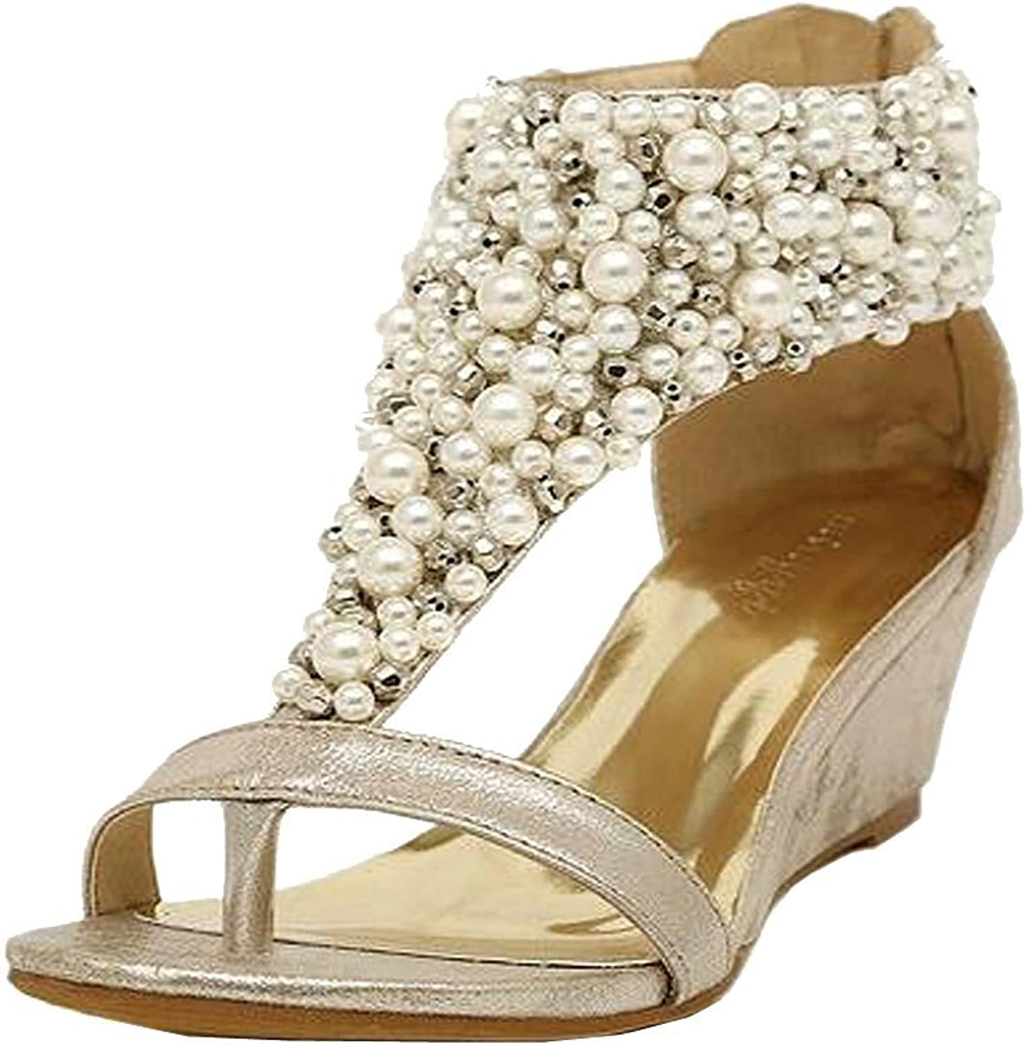 Getmorebeauty Women's Ankle Strappy Across Pearls Peep Toes Zipped Sandals