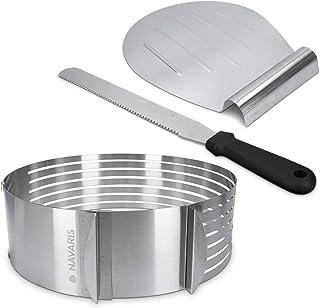 Navaris Coupe-gâteaux à Pâtisserie - Cercle à Gâteaux à Trancher Réglable en Acier Inoxydable Ø 23 cm - Kit Cercle Couteau...