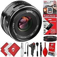 Opteka 35mm f / 1.7Prime Lens for Canon EF - MマウントAPS - CデジタルSLRカメラm100m10m6m5m3m2Plus Bonus 16GB 12pcバンドル