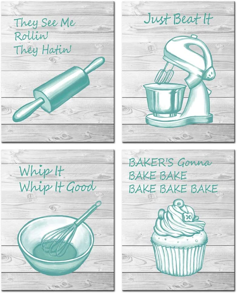 sechars 4 Piece Funny Kitchen Quote Wall Art Print Inspirational Signs Canvas Painting Teal and Grey Kitchen Canvas Poster Framed for Baking Room Restaurant Dinning Room Decor (Small-12 x16 x4pcs)